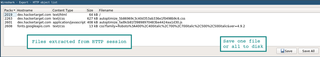 Screenshot showing the Wireshark export file object Window