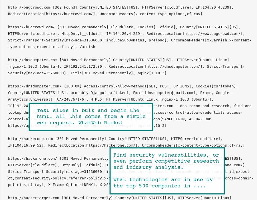 WhatWeb & Wappalyzer Online Website Recon | HackerTarget com