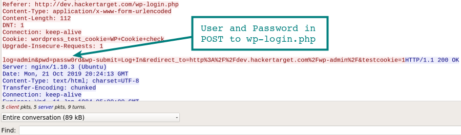 WordPress Password in Wireshark Capture